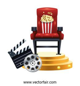 theater chair with pop corn bucket and clapboard