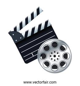 clapboard with film reel icon
