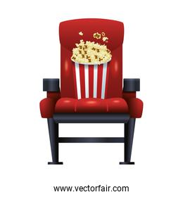 theater chair with popcorn bucket icon