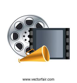 reel tape and megaphone icon
