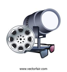 film reel with stage lights and 3d glasses, colorful design