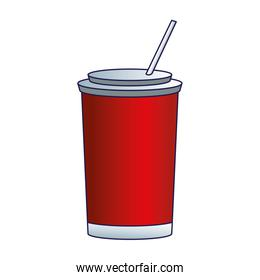 soda cup with straw icon, flat design
