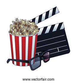 3D glasses with clapboard and pop corn striped bowl icon