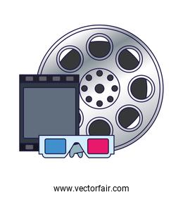 film reel with 3d glasses icon, colorful design