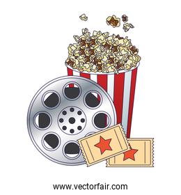 pop corn bowl with film reel and movie tickets, colorful design