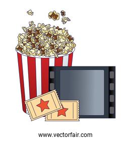 pop corn bucket with film reel and movie tickets, colorful design
