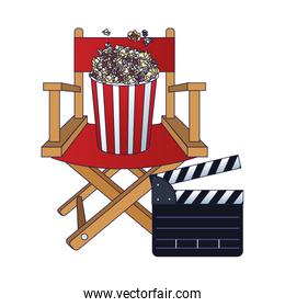 director chair with pop corn bucket and clapboard