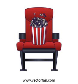 theater chair with popcorn bucket icon, colorful design