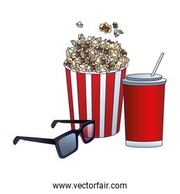 soda with pop corn bucket and 3d glasses, colorful design