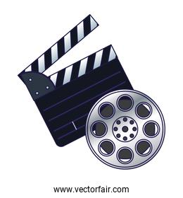 clapboard with film reel icon, colorful design