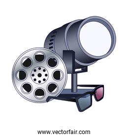 film reel with stage lights and 3d glasses