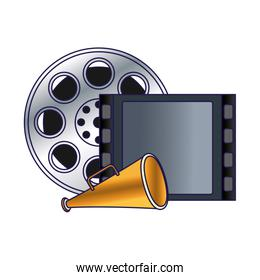 reel tape and megaphone icon, colorful design