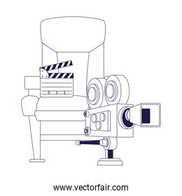 cinema camera, clapboard and theater chair icon, flat design