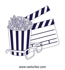 3D glasses with clapboard and pop corn striped bowl icon, flat design