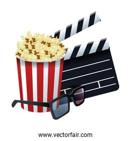 3D glasses with clapboard and pop corn striped bowl icon, colorful design