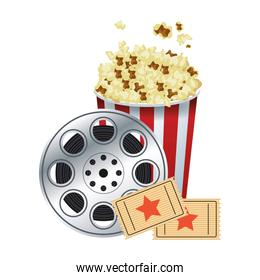 pop corn bowl with film reel and movie tickets