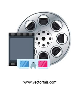 film reel with 3d glasses icon