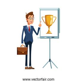 cartoon businessman standing pointing a presentation board with trophy icon