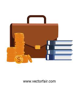 business portfolio with books and money coins