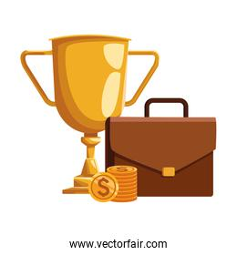 trophy cup with portfolio and money coins, colorful design