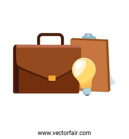 business portfolio with clipboard and bulb light