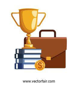 business portfolio with trophy cup and books, colorful design
