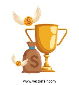 trophy cup with money bag and coins with wings, colorful design