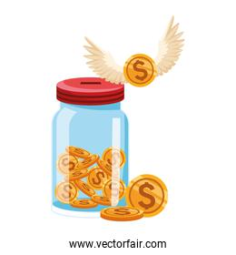 bottle with money coins and coin with wings, colorful design