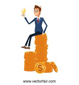 cartoon businessman holding a bulb sitting on stack of money coins, colorful design