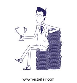 cartoon businessman holding a trophy sitting on stack of money coins
