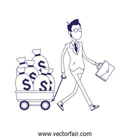 businessman walking with trolley with money bags, flat design
