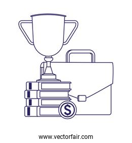 business portfolio with trophy cup and books