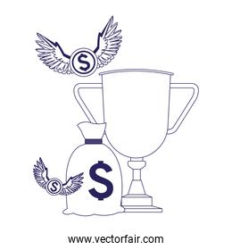 trophy cup with money bag and coins with wings
