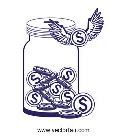 bottle with money coins and coin with wings