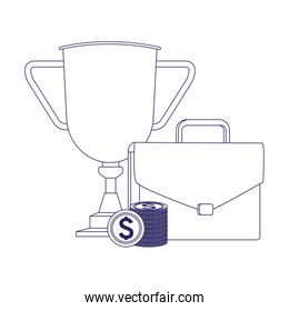 trophy cup with portfolio and money coins
