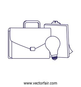business portfolio with clipboard and bulb light, flat design