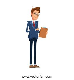 worried businessman with clipboard, colorful design