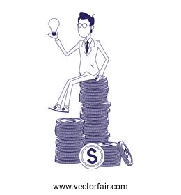 cartoon businessman holding a bulb sitting on stack of money coins