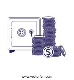 strongbox with money coins stack, flat design