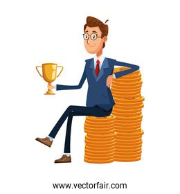 cartoon businessman holding a trophy sitting on stack of money coins, colorful design