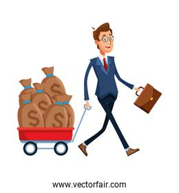 businessman walking with trolley with money bags