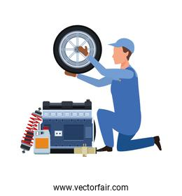car mechanic with tire and engines
