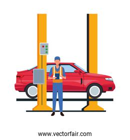 car repair design of mechanic with car on car lift icon, colorful design