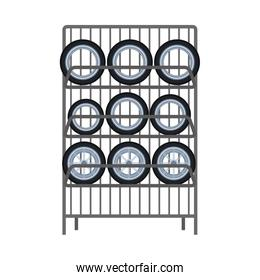 Rack with car tires icon, colorful design