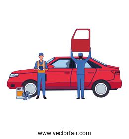 mechanics working with red card, colorful design
