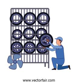car mechanic holding a tire of tires rack, colorful design