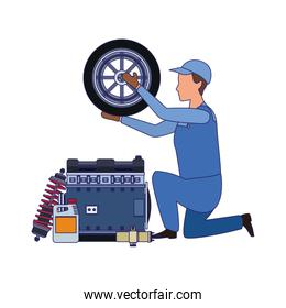 car mechanic with tire and engines, colorful design
