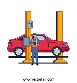 car repair design of mechanic with car on car lift icon