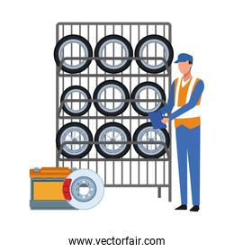Car mechanic with tires rack, colorful design