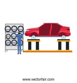 mechanic at rack of tires and lift with body car, colorful design